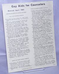 image of Gay Aids for Counselors: revised April 1983 [handbill]