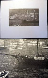 Circa 1920 Large Format Photographic Gravure of the Sailing Cargo Ship Gaviota in Harbor with Other Sailing Craft