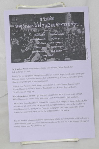 San Francisco: Castro Sweep Project, 1999. 4p., 5.5x8.5 inches, pamphlet accompanying the exhibition...
