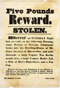 Five Pounds Reward, Stolen. Ely, England, 1836