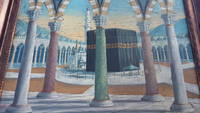 Ottoman painting of the holy mosque of Mecca, signed and dedicated by the painter
