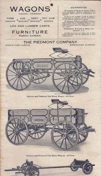 Hickory, North Carolina: Piedmont Wagon & Mfg. Co, n.d.. Paper. Very good. Original broadsheet adver...