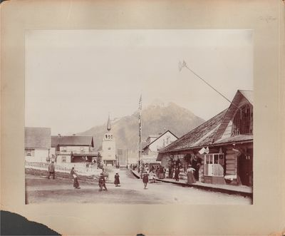 Good. Four mounted albumen prints depicting scenes from Alaska and British Columbia. Photographer is...
