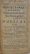 View Image 2 of 2 for MISCELLANIES By the most Noble George Lord Saville, Late Marquis and Earl of Halifax. Inventory #019791