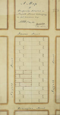 "Manuscript map of ""Property Situated on Norfolk Street belonging to Thos. Gardner, Esq."" signed by Stephen Ludlam, City Surveyor, pen, ink and colors on paper"