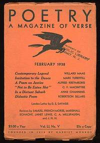 Chicago: Poetry, 1938. Softcover. Fine. Vol. LI, No. V. Fine in good wrappers with the edges chipped...