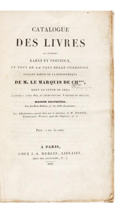 2 p.l., iv, 360 pp. 8vo, orig. blue wrappers (upper wrapper detached), uncut. Paris: J.S. Merlin, 18...