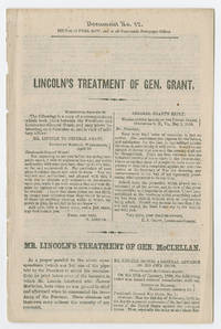 1864 Campaign Blames McClellan's Failures on Lincoln, Comparing the President's Treatment of McClellan and Grant