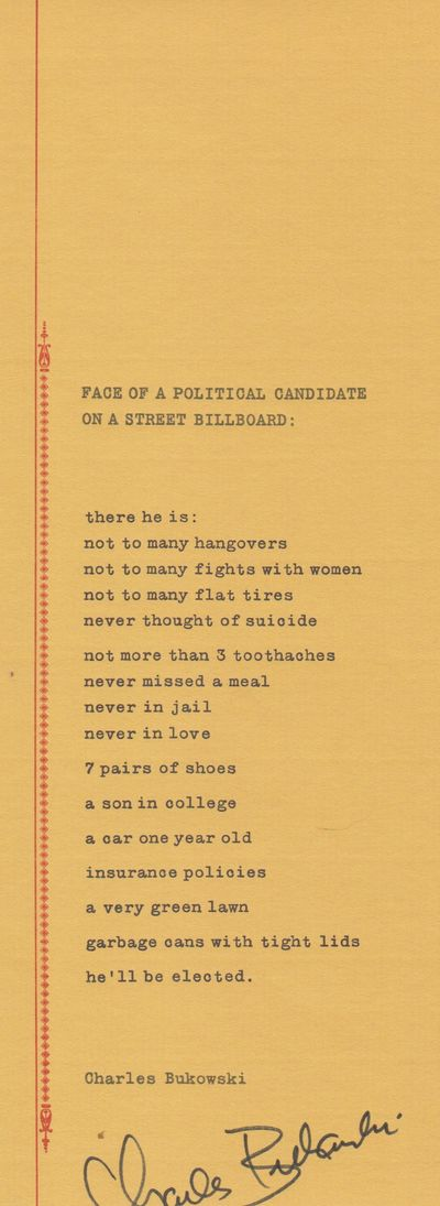 n.p.: Old Marble Press. 1975. First Edition; First Printing. Broadside. Single mustard leaf, 8½ x 1...