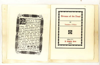 Aiken, S.C.: Ye Palmetto Press, 1900 Limited to 250 copies. Stiff cream-colored wrappers, title in g...