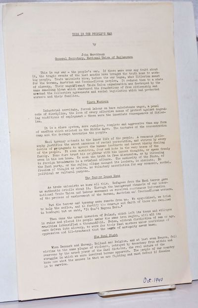 New York: British Library of Information, 1940. Two pages, mimeographed on one side only, 8.5x14 inc...
