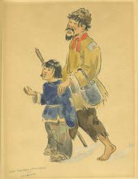 Shanghai Man and Child, Beggars.  Original watercolor painting