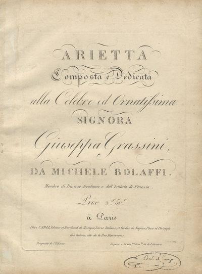 Paris: Carli , 1810. Folio. Disbound. 1f. (recto titleverso blank), (blank), 5, (blank) pp. Engraved...