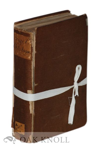 (Leipzig, Germany): T.O. Weigel, 1856. contemporary pebbled cloth with handwritten paper spine label...