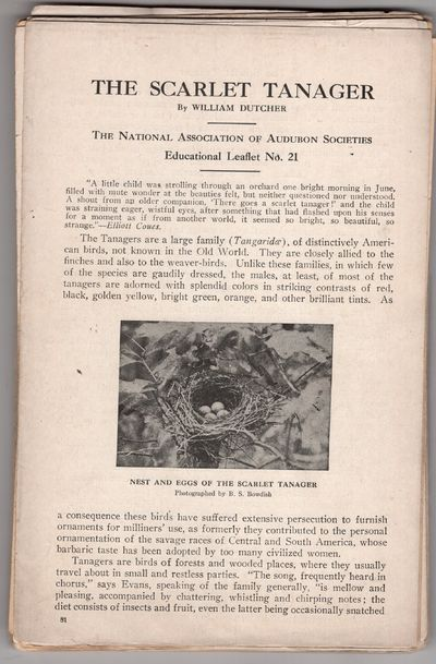 New York: Audubon Society , 1915. Leaflet. Good. Each having 4p text, one color illustration and ass...