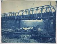 [Three Large Cyanotypes of a Railroad Bridge Across the Missouri River Near Council Bluffs, Iowa, for the Chicago, Rock Island & Pacific Railroad]