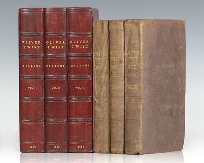 London: Richard Bentley, 1838. First edition, first issue of Dickens' classic work. Octavo, three vo...