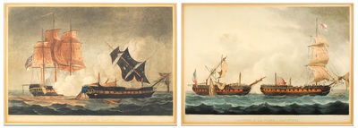 Two hand colored aquatints. Strand: J. Jenkin's Naval Achievements, 1816. Two hand colored aquatin...