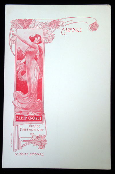 slight discoloration on top corner. Blank Advertising Menu printed in red ink by Imp, Bataille-Paris...