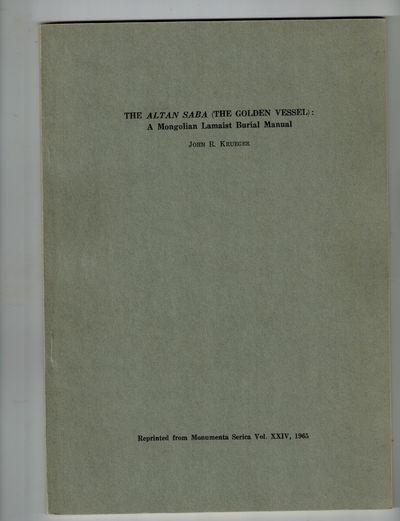 Monuments Serica , 1965. RARE. Reprint from Monumenta Serica Vol. XXIV, 1965. Near fine, slight soil...