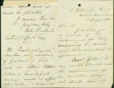 Kentish New Town, 1861. Rowland, Owen. Autograph letter signed to Latimer Clark (1822-98). Kentish N...