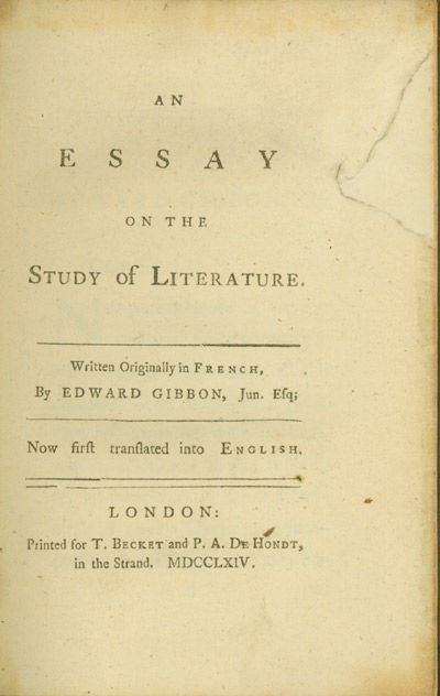 edward gibbon essay on the study of literature Gibbon's essay on the study of literature: a new english translation gibbon's essay on the study of literature: a new english translation.