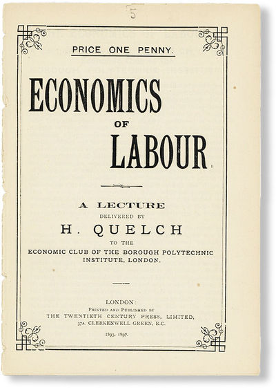 London: Twentieth Century Press, 1897. Pamphlet. Edition not stated, but presumed later printing as ...