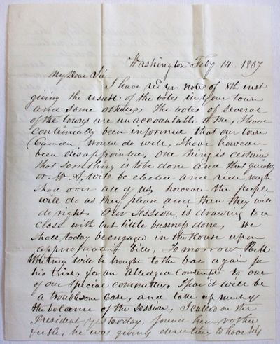 Washington, 1837. pp, entirely in ink manuscript, on a folded folio sheet, folded for mailing, addre...