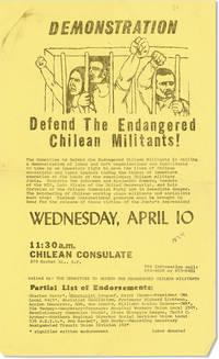 [Broadside] Demonstration: Defend the Endangered Chilean Militants!