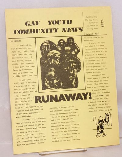 San Francisco: Gay Youth Community Coalition of the Bay Area, 1979. 6p. newsletter, 8.5X11 inches, e...