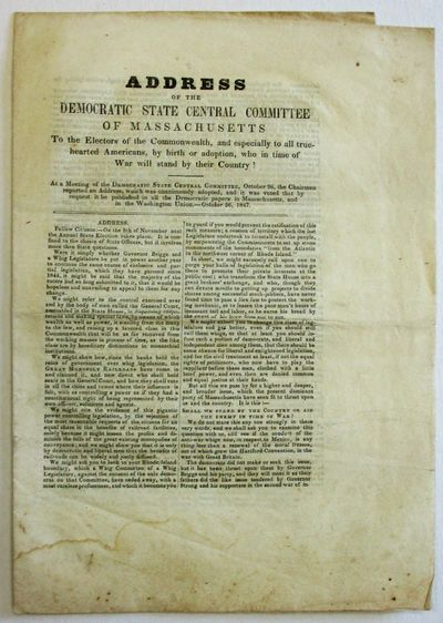 : Printed at the Office of the Barnstable Patriot, 1847. Folio broadside, folded to 8pp. Uncut, with...
