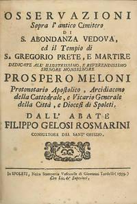 Osservazioni Sopra l'Antico Cimitero di S. Abondanza Vedova, ed il Tempio di S. Gregorio, Prete e Martire