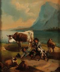 Original Period Early 19th Century Oil on Canvas Painting An Alpine scene depicting figures and animals beside mountainous lake. by CONTINENTAL SCHOOL - from The Antique Map & Bookshop (SKU: 81443)