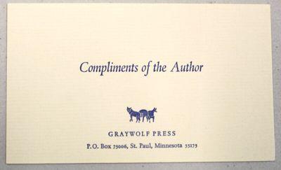 [Minneapolis: Coffee House Press, n.d., 1980. 3.5