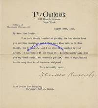 """Bull Moose Candidate Theodore Roosevelt Thanks A Famous Nurse For A Campaign Contribution And A Note, Mentioning """"I Particularly Like What You Say About Social And Economic Justice"""""""