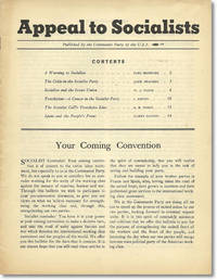 Appeal To Socialists. Published by the Communist Party of the U.S.A.