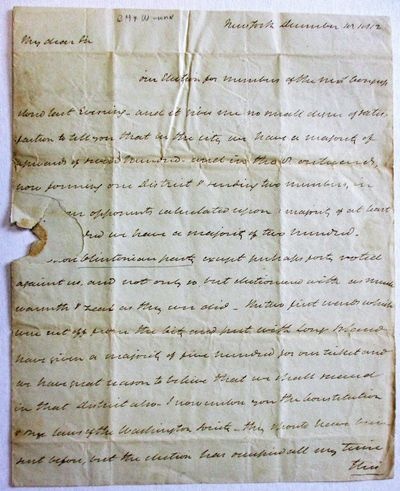 New York, 1812. Folio sheet, folded to pp, integral address leaf addressed to Meredith with New York...