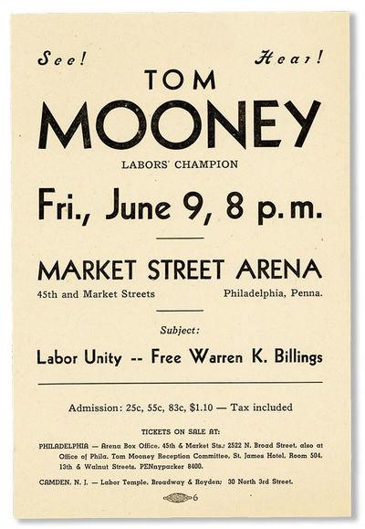 Philadelphia, n.d., ca. 1939. Small broadside flyer (21.5x14cm.) printed in black on white stock. Fi...