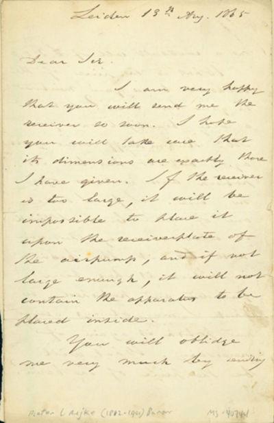 1865. Very Good. Rijke, Pieter Leonhard, Baron (1812-1901). A.L.s. to an unidentified correspondent,...