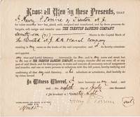 image of PRINTED TRANSFER OF 71 SHARES IN THE UNITED N.J. R.R. & CANAL COMPANY FROM HENRY P. PERRINE OF TRENTON, NJ TO THE TRENTON BANKING COMPANY AS HIS ATTORNEY,  8 JULY 1898