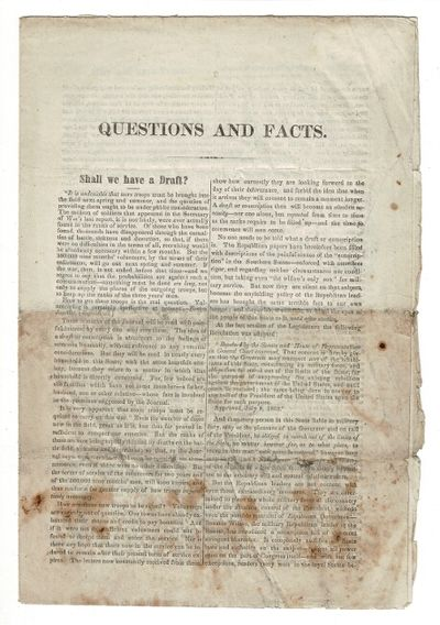 [New Hampshire, 1863. 8vo, pp. 8; text in double column; self-wrappers; old folds with lower half of...