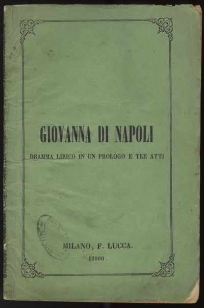 Milano: Coi Tipi di Francesco Lucca, 1869. Small octavo. Original publisher's green printed wrappers...