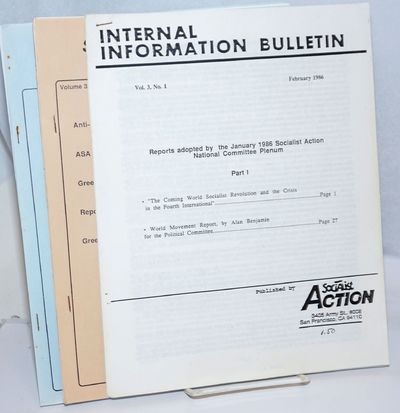 San Francisco: Socialist Action, 1986. Three issues of the bulletin from 1986. Issues present are Vo...