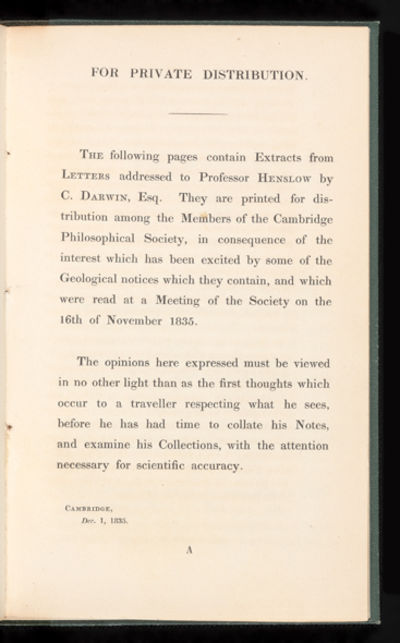 31 pp. 8vo, bound in attractive green morocco-backed cloth over boards. . First edition of Darwin's ...