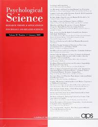 image of Psychological Science (Volume 20, Number 1, January 2009)