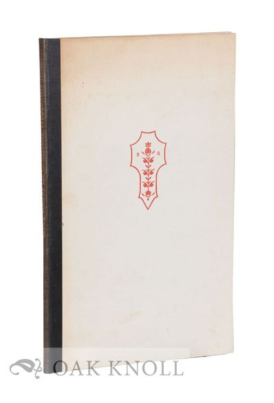 N.P.: The University Printer, 1950. cloth-backed boards. Rogers, Bruce. 4to. cloth-backed boards. xi...