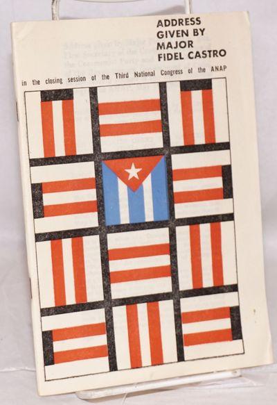 Havana: Instituto del Libro, 1967. 75p., staplebound pamphlet, corners creased. Speech given to the ...