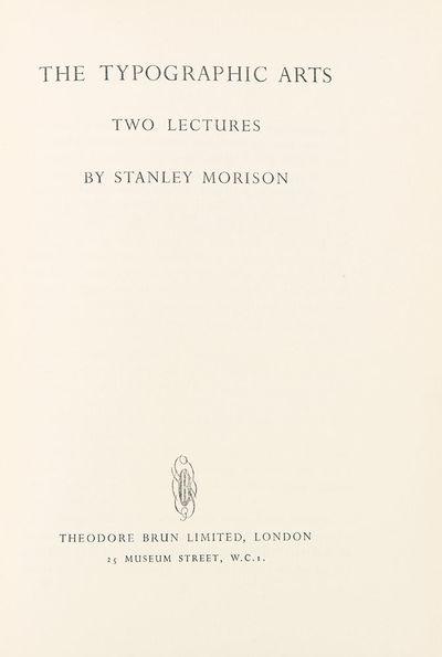 London: Theodore Brun Limited, 1949. Octavo. (6 1/2 x 9 1/4 inches). 106pp. Original full blue polis...