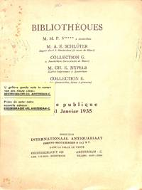 Vente 29-31 Janvier 1935: Bibliothèques M. M. P. V., M. A. E. Schlüter,  Collection G., M.Ch. E. Nypels, Collection E.