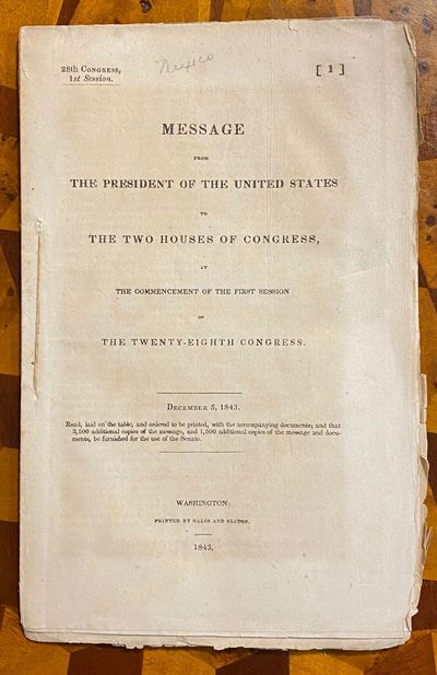 Washington DC: Blair and Rives, 1843. First Edition. Good. 8vo. 48 pp., stitched in original self-wr...